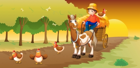 Illustration of a man riding in his cart going to the farm Vector
