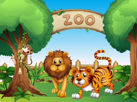 tigre caricatura: Ilustración de un mono, un león y un tigre en el interior de la valla de madera