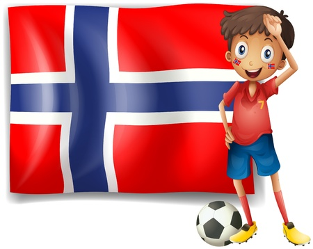 Illustration of a boy with a soccer ball in front of the flag of Norway on a white background Stock Vector - 18459209
