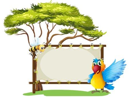 Illustratie van een lege frame banner met een papegaai en een bij op een witte achtergrond