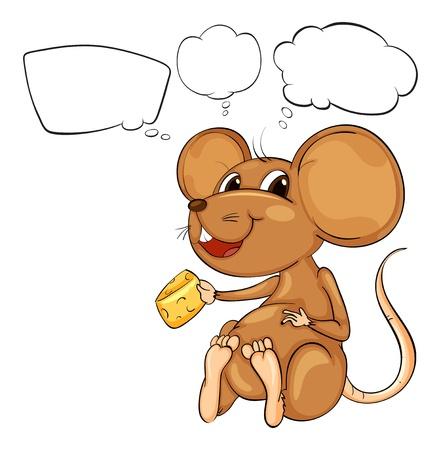 Ilustración de una rata que sostiene un queso con llamadas vacías sobre un fondo blanco Vectores