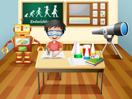 telescopes: Illustration of a boy inside a science laboratory