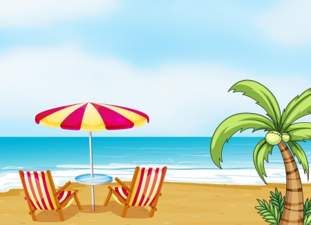 Illustration of the beach with an umbrella and chairs Illustration