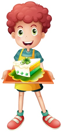 Illustration of a young boy with a slice of cake on a white background Stock Vector - 18458580