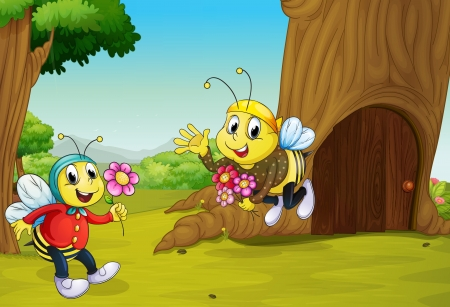 Illustration of the two bees near a treehouse Vector