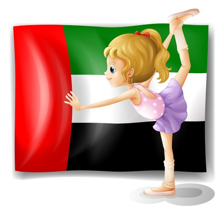 arab flags: Illustration of a ballet dancer in front of the UAE flag on a white background Illustration