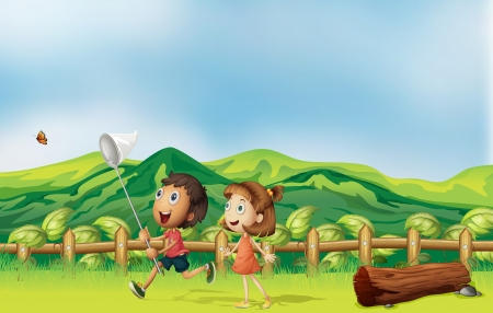 Illustration of the kids playing across the mountain Vector