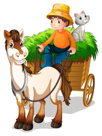 Illsutration d'un fermier conduisant une charrette avec un chat à l'arrière sur un fond blanc Vecteurs