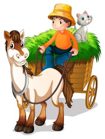 Illsutration di un agricoltore guida un carrello con un gatto sul retro su uno sfondo bianco