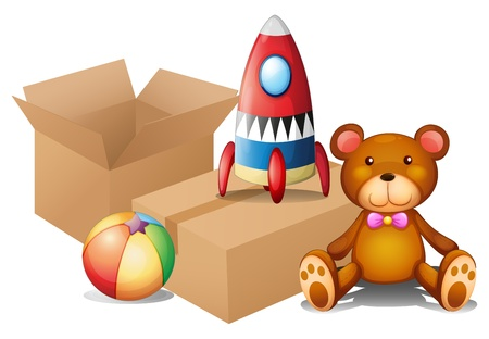 Illustration of the different toys with two boxes on a white background Stock Vector - 18458847