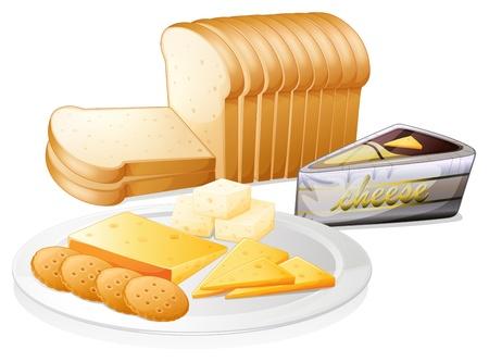 brie: Illustratie van de gesneden brood met kaas en koekjes op een witte achtergrond