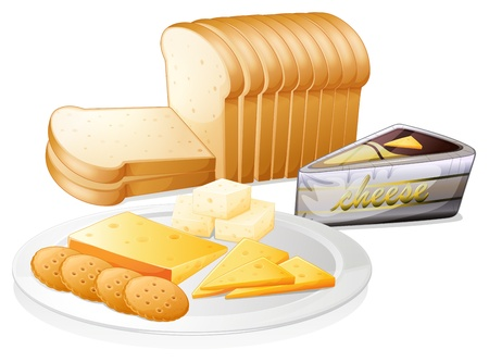 loaf of bread: Illustration of the sliced bread with cheese and biscuits on a white background Illustration