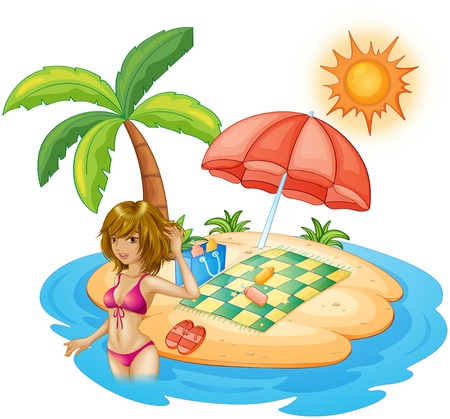 sun lotion: Ilustraci�n de una mujer con un traje de ba�o rosado en la playa en un fondo blanco Vectores
