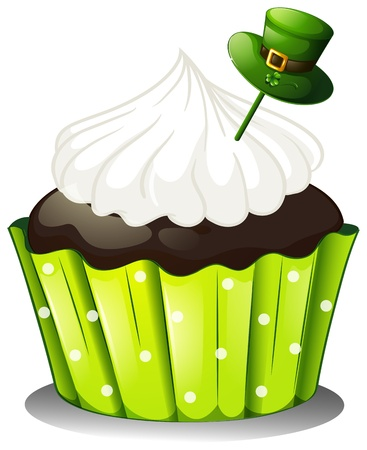 Illustration of a chocolate cupcake with a white icing and a green hat on a white background Vector