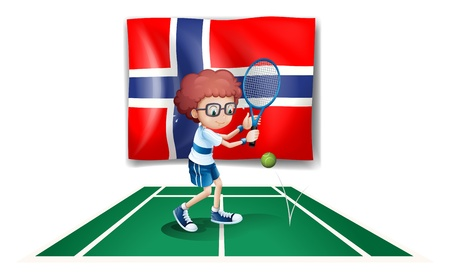 Illustration of the flag of Norway at the back of the tennis player on a white background Stock Vector - 18458566
