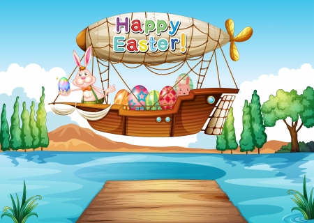 aerial animal: Illustration of a happy easter greeting above the river
