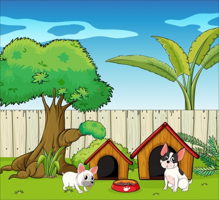 home clipart: Illustration of the two cute dogs Illustration
