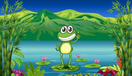 Illustration of a frog standing above a water lily  Illustration
