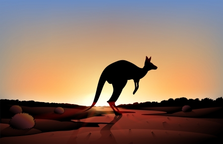 Illustration of a sunset with a kangaroo Vector
