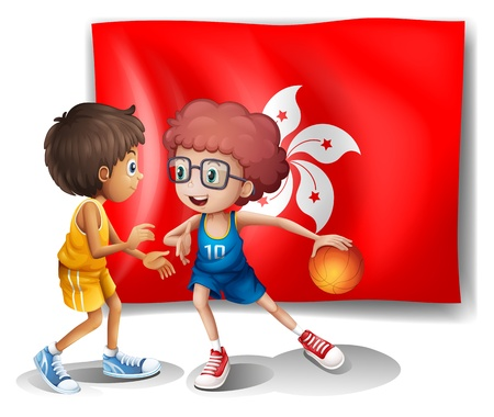 hongkong: Illustration of the flag of Hongkong at the back of the basketball players on a white background