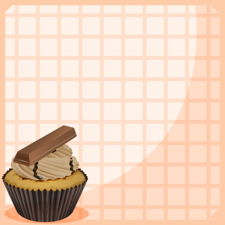 Illustration of a stationery with a cupcake with chocolate toppings Vector