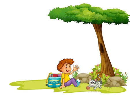 Illustartion of a boy and his cat under the tree on a white background