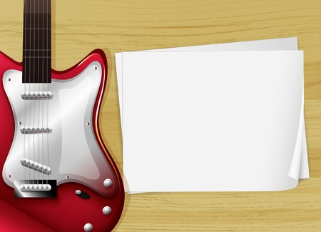 plucking an instrument: Illustration of a red guitar with an empty piece of paper