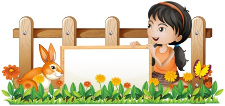Illustration of a girl holding a white board with a rabbit inside the wooden fence on a white background Stock Vector - 18459389
