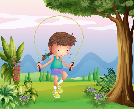 sweaty: Illustration of a sweaty young girl playing at the hills