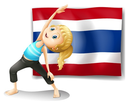 thai arts: Illustration of a girl with the flag of Thailand on a white background