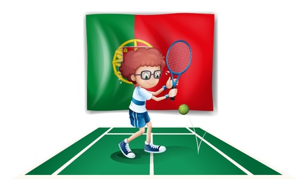 Illustration of a Portugal flag at the back of a boy playing tennis on a white background Vector