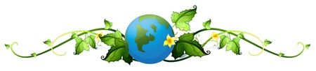 Illustration of a vine plant border with the earth on a white background Vector