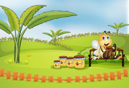 Illustration of a bee sitting at the bench with jars of honey Vector