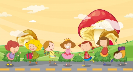 giant mushroom: Illustration of kids playing at the roadside Illustration