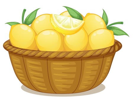 food storage: Illustration of a basket of lemons on a white background
