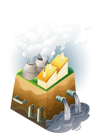 aguas residuales: Ilustraci�n de una f�brica en un fondo blanco Vectores