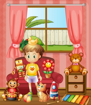 Illustration of a kid inside the house with his toys Vector