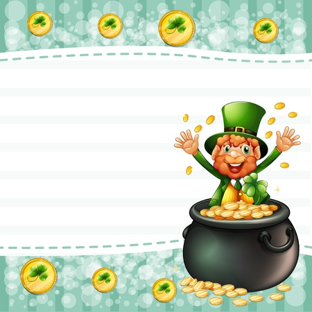 patron saint of ireland: Illustration of an old man inside a pot of coins and the empty space