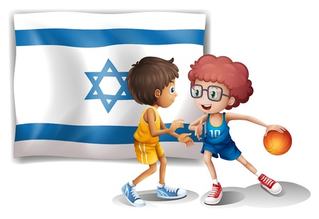 Illustration of the boys playing basketball in front of the Israel flag on a white background Vector