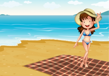 Illustration of a girl in the beach with a blanket Vector