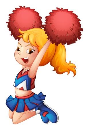 Illustration eines energetischen Cheerleader auf weißem Hintergrund