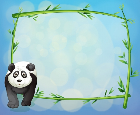 Illustration of a panda standing beside a bamboo frame Vector