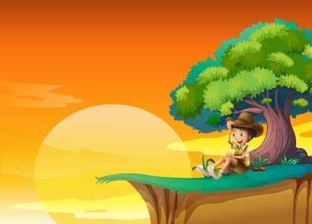 Illustration of a boy sitting near a big tree Vector