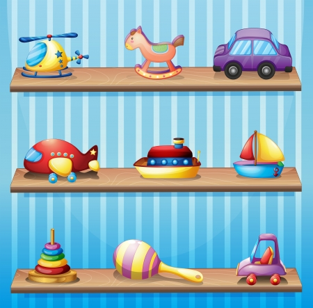 toy boat: Illustration of the three wooden shelves with toys