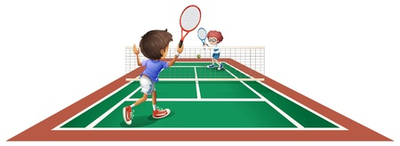 Illustration of the two kids playing tennis on a white background Vector