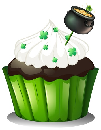 feast of saint patrick: Illustration of a chocolate cupcake with a pot full of coins on a white background Illustration