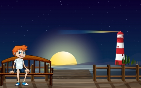 moon chair: Illustration of a boy sitting at the bench in the wooden bridge