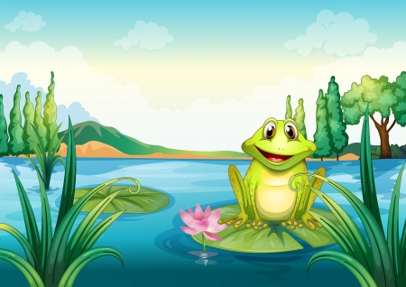 cute creature: Illustration of a happy frog above a water lily Illustration