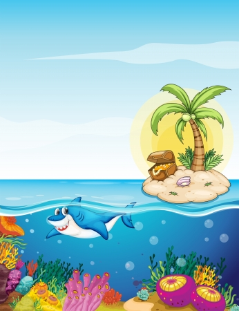 island clipart: Illustration of the beautiful underwater creatures Illustration