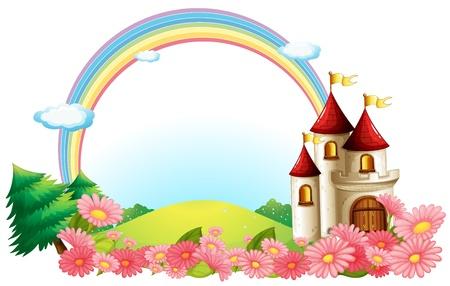 Illustration eines Schlosses mit blühenden Blumen auf einem weißen Hintergrund